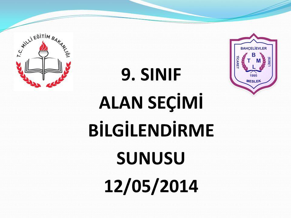9. SINIF ALAN SEÇİMİ BİLGİLENDİRME SUNUSU 12/05/2014