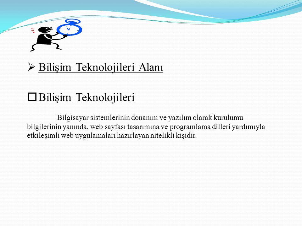  Bilişim Teknolojileri Alanı  Bilişim Teknolojileri Bilgisayar sistemlerinin donanım ve yazılım olarak kurulumu bilgilerinin yanında, web sayfası tasarımına ve programlama dilleri yardımıyla etkileşimli web uygulamaları hazırlayan nitelikli kişidir.