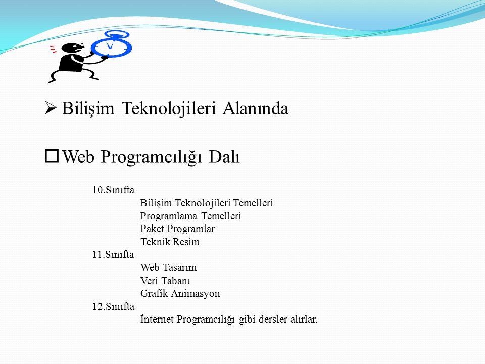  Bilişim Teknolojileri Alanından mezun öğrencilerimiz  Bilgisayar Firmalarında veya Büyük İşletmelerde  Teknisyen  Web Tasarımcı  Müşteri Temsilcisi gibi mesleklerde istihdam edilmektedir.