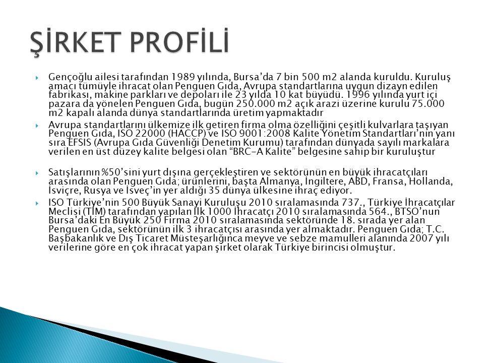  Gençoğlu ailesi tarafından 1989 yılında, Bursa'da 7 bin 500 m2 alanda kuruldu. Kuruluş amacı tümüyle ihracat olan Penguen Gıda, Avrupa standartların