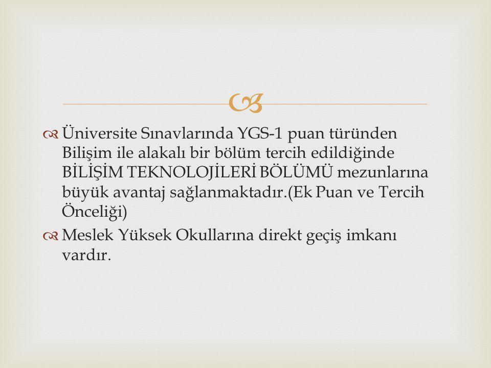   Üniversite Sınavlarında YGS-1 puan türünden Bilişim ile alakalı bir bölüm tercih edildiğinde BİLİŞİM TEKNOLOJİLERİ BÖLÜMÜ mezunlarına büyük avanta