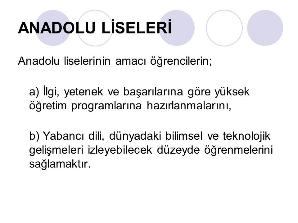 ANADOLU MESLEK LİSELERİ Anadolu Meslek Liseleri'nde Türk Milli Eğitimi'nin genel amaçlarına ve temel ilkelerine uygun olarak öğrencilere ortaöğretim seviyesinde ortak genel kültür vermek, onlara kişi ve toplumun problemlerini tanıtmak, çözüm yolları aramak, yurdun ekonomik, sosyal ve kültürel kalkınmasında katkıda bulunma bilinci ve gücünü kazandırma amacına yönelik, mesleki ve teknik alanlarda mesleki formasyon kazandıran, öğrencileri hayata, iş alanlarına ve yüksek öğretime hazırlayan, aynı zamanda bir yabancı dilin öğretilmesini amaçlayan programlar uygulanmaktadır.