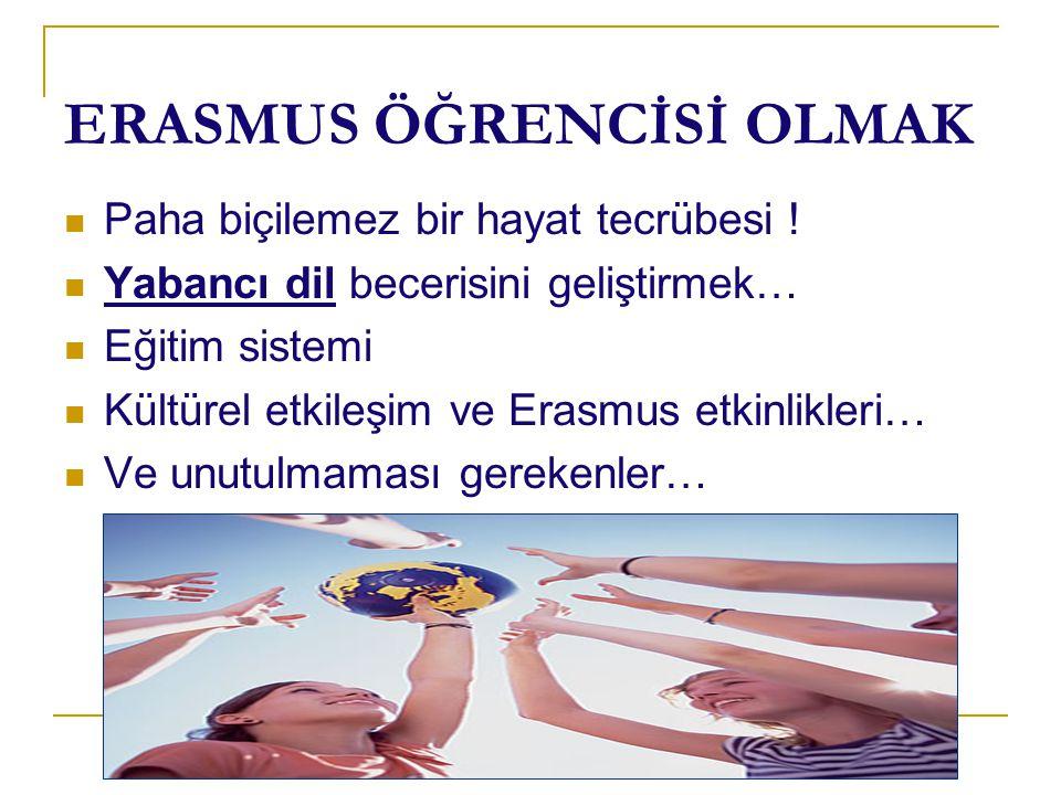 ERASMUS ÖĞRENCİSİ OLMAK Paha biçilemez bir hayat tecrübesi ! Yabancı dil becerisini geliştirmek… Eğitim sistemi Kültürel etkileşim ve Erasmus etkinlik