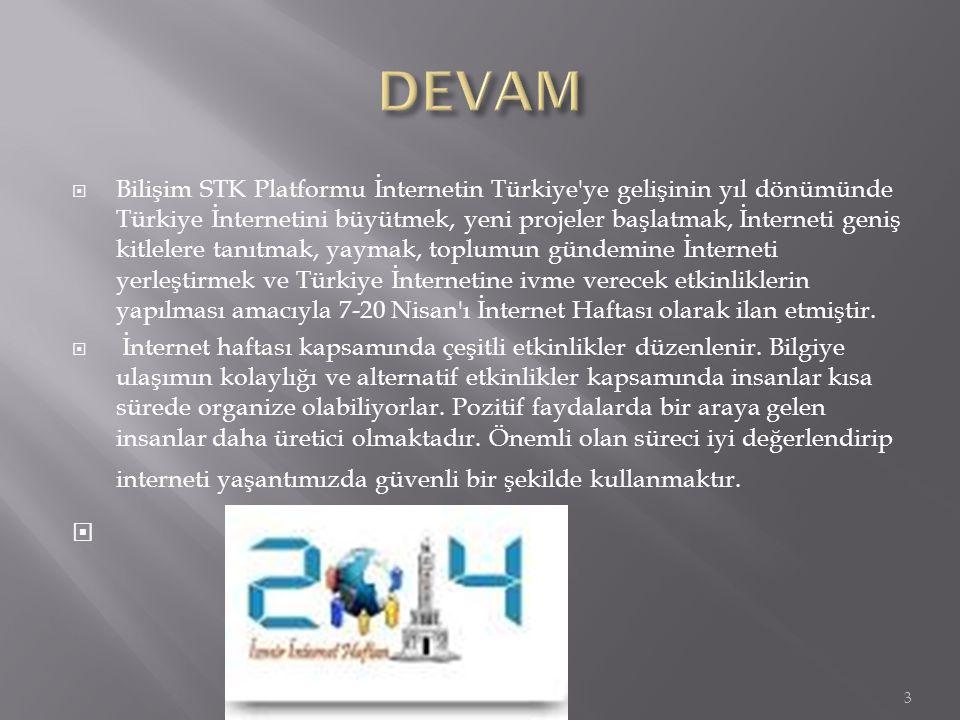  Bilişim STK Platformu İnternetin Türkiye'ye gelişinin yıl dönümünde Türkiye İnternetini büyütmek, yeni projeler başlatmak, İnterneti geniş kitlelere