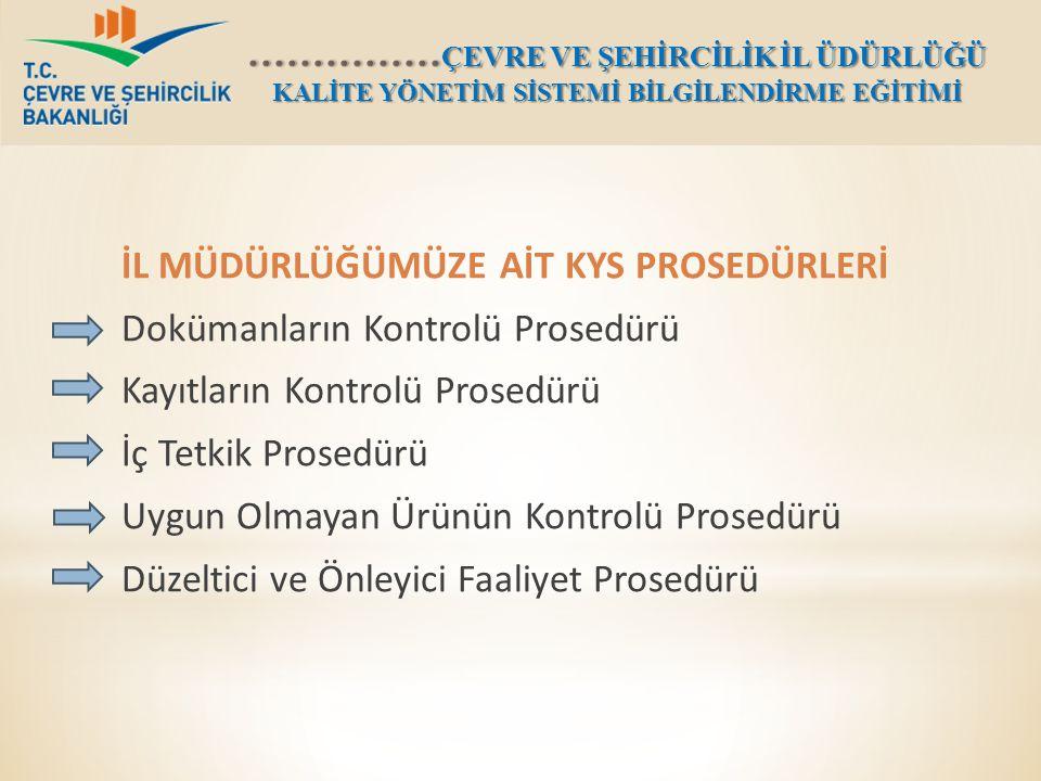 İL MÜDÜRLÜĞÜMÜZE AİT KYS PROSEDÜRLERİ Dokümanların Kontrolü Prosedürü Kayıtların Kontrolü Prosedürü İç Tetkik Prosedürü Uygun Olmayan Ürünün Kontrolü