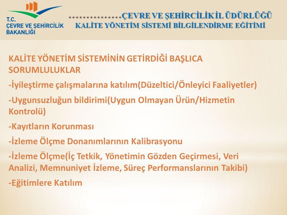 KALİTE YÖNETİM SİSTEMİNİN GETİRDİĞİ BAŞLICA SORUMLULUKLAR -İyileştirme çalışmalarına katılım(Düzeltici/Önleyici Faaliyetler) -Uygunsuzluğun bildirimi(