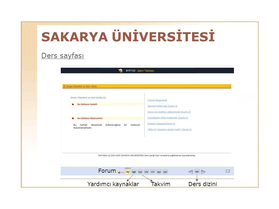 SAKARYA ÜNİVERSİTESİ Ders sayfası Forum TakvimYardımcı kaynaklarDers dizini