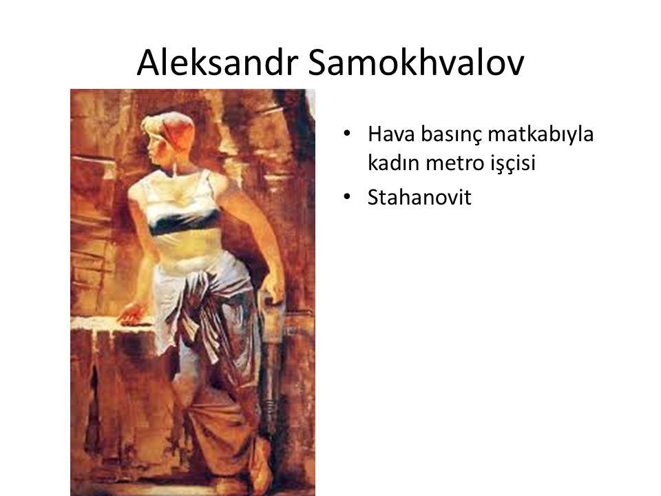 Aleksandr Samokhvalov Hava basınç matkabıyla kadın metro işçisi Stahanovit