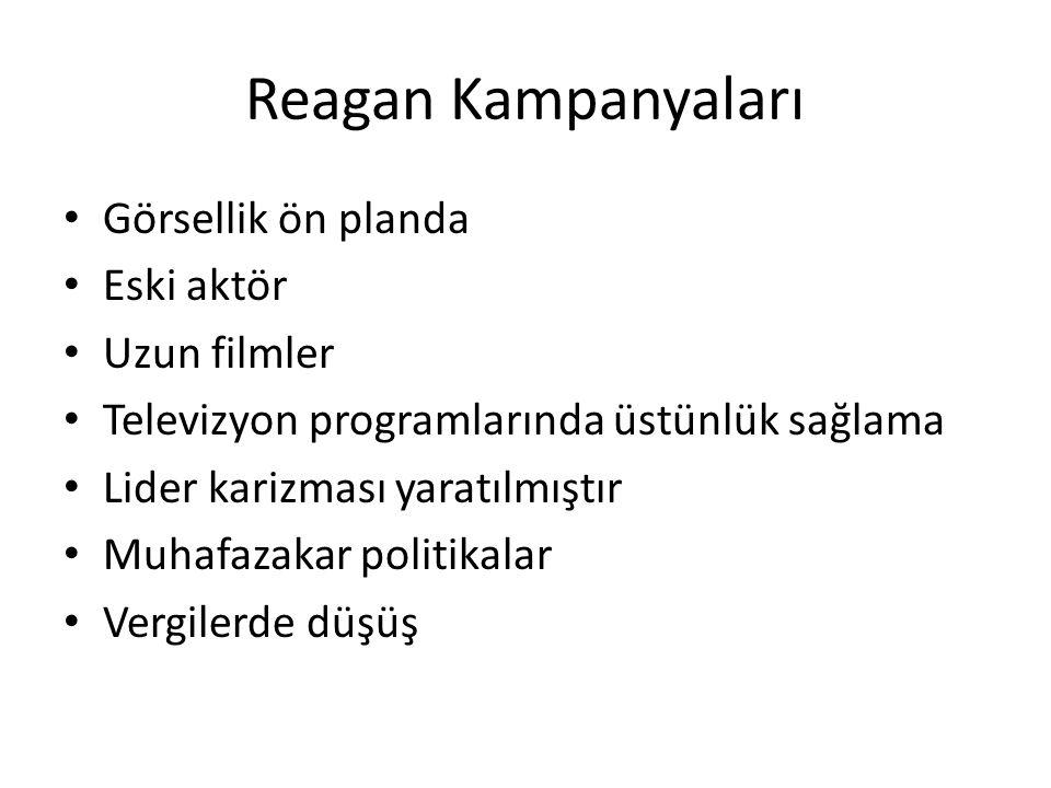 Reagan Kampanyaları Görsellik ön planda Eski aktör Uzun filmler Televizyon programlarında üstünlük sağlama Lider karizması yaratılmıştır Muhafazakar p