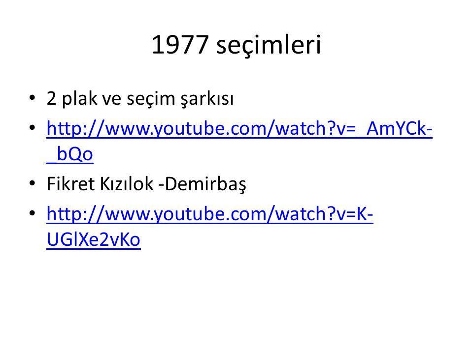 1977 seçimleri 2 plak ve seçim şarkısı http://www.youtube.com/watch?v=_AmYCk- _bQo http://www.youtube.com/watch?v=_AmYCk- _bQo Fikret Kızılok -Demirbaş http://www.youtube.com/watch?v=K- UGlXe2vKo http://www.youtube.com/watch?v=K- UGlXe2vKo