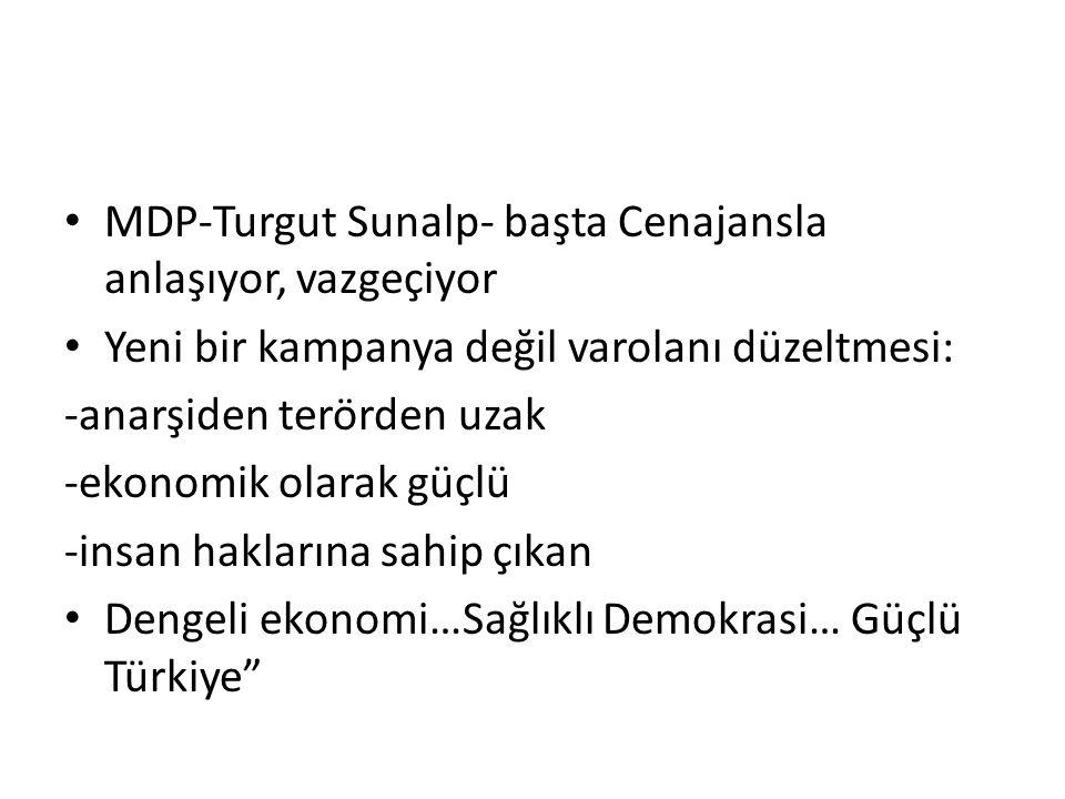 MDP-Turgut Sunalp- başta Cenajansla anlaşıyor, vazgeçiyor Yeni bir kampanya değil varolanı düzeltmesi: -anarşiden terörden uzak -ekonomik olarak güçlü -insan haklarına sahip çıkan Dengeli ekonomi…Sağlıklı Demokrasi… Güçlü Türkiye
