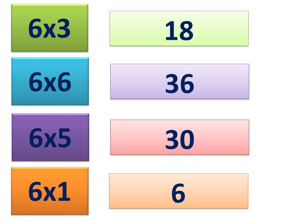 6x3 18 6x6 6x5 6x1 36 30 6 6