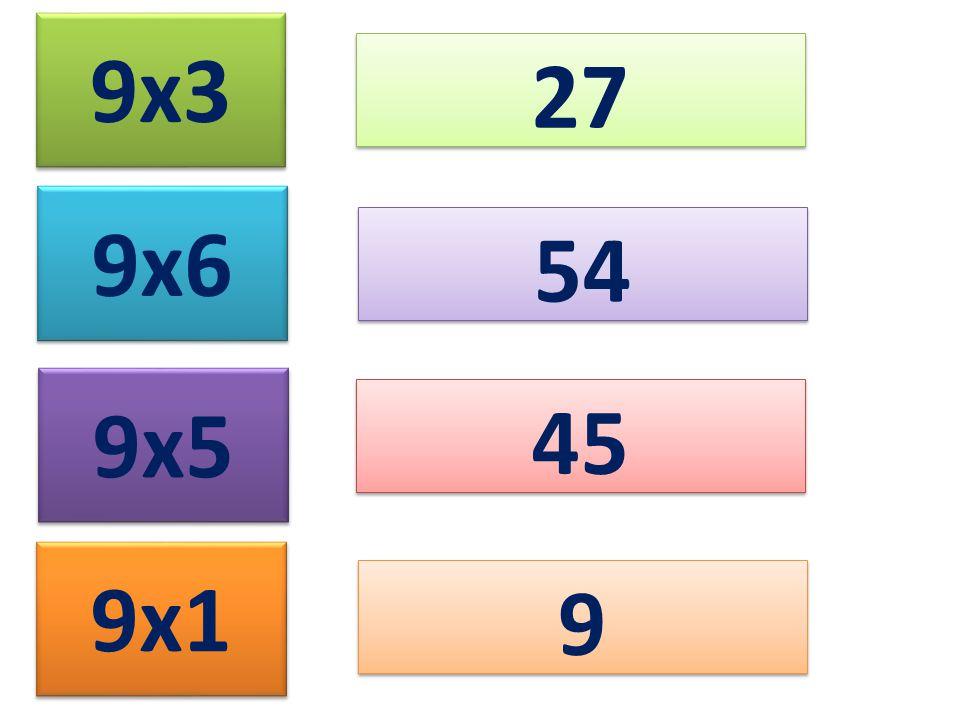 9x3 27 9x6 9x5 9x1 54 45 9 9