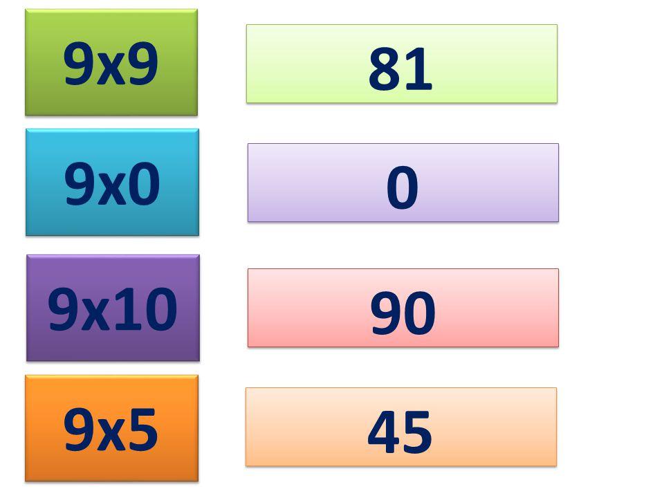 9x9 81 9x0 9x10 9x5 0 0 90 45