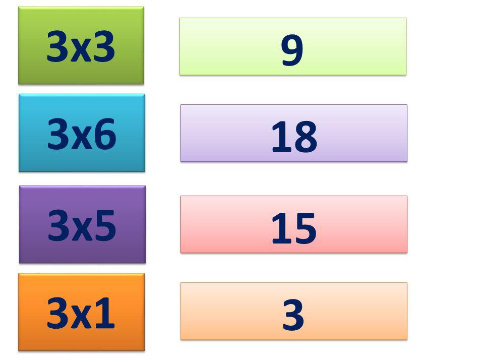 3x3 9 9 3x6 3x5 3x1 18 15 3 3