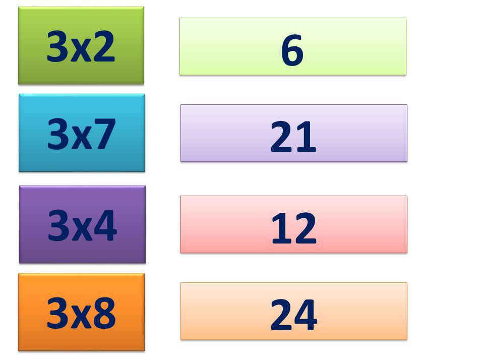 3x2 6 6 3x7 3x4 3x8 21 12 24