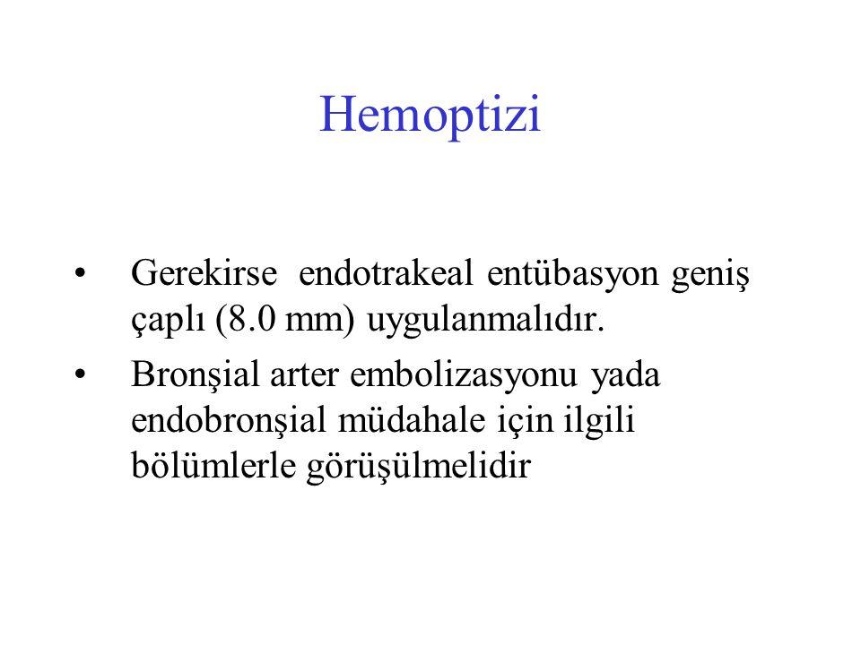 Hemoptizi Gerekirse endotrakeal entübasyon geniş çaplı (8.0 mm) uygulanmalıdır. Bronşial arter embolizasyonu yada endobronşial müdahale için ilgili bö