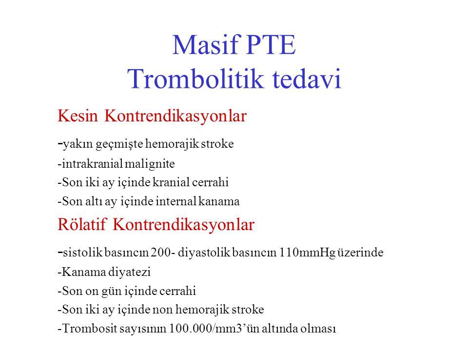 Masif PTE Trombolitik tedavi Kesin Kontrendikasyonlar - yakın geçmişte hemorajik stroke -intrakranial malignite -Son iki ay içinde kranial cerrahi -So