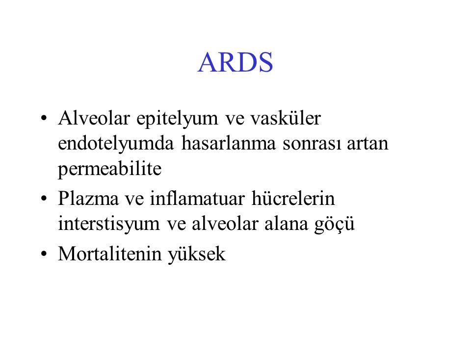 ARDS Alveolar epitelyum ve vasküler endotelyumda hasarlanma sonrası artan permeabilite Plazma ve inflamatuar hücrelerin interstisyum ve alveolar alana