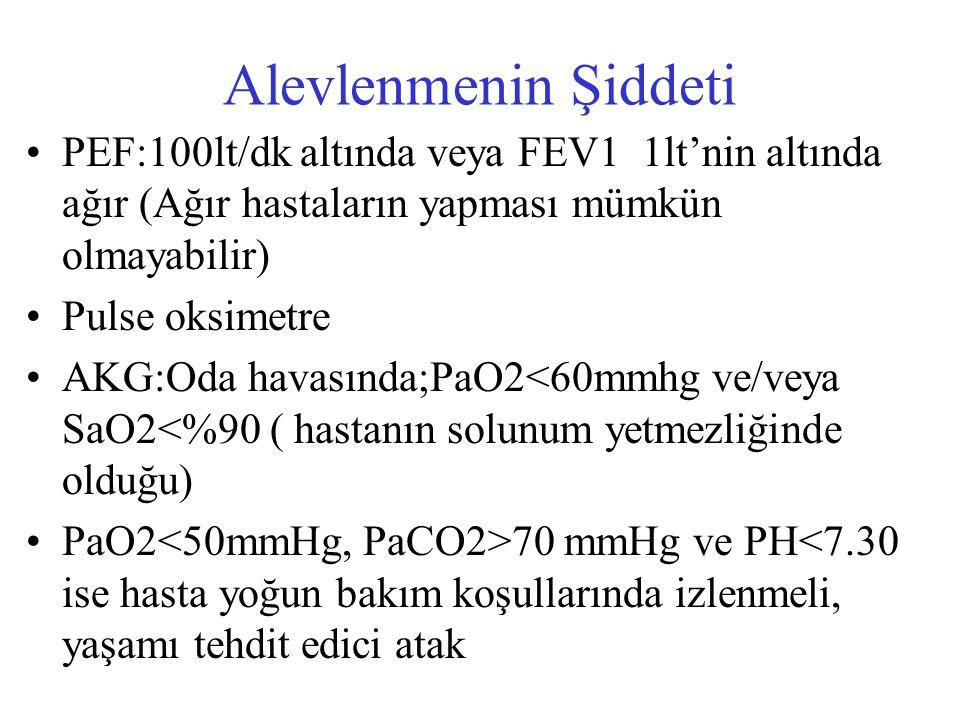Alevlenmenin Şiddeti PEF:100lt/dk altında veya FEV1 1lt'nin altında ağır (Ağır hastaların yapması mümkün olmayabilir) Pulse oksimetre AKG:Oda havasınd