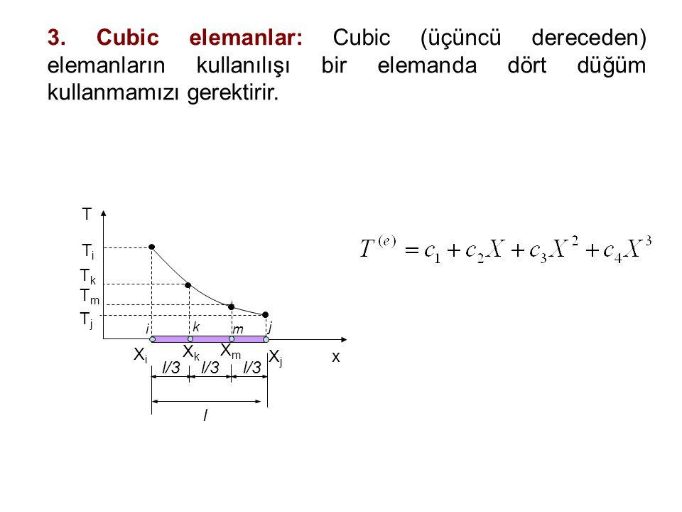 3. Cubic elemanlar: Cubic (üçüncü dereceden) elemanların kullanılışı bir elemanda dört düğüm kullanmamızı gerektirir. XiXi XjXj TiTi TjTj T x XkXk i j