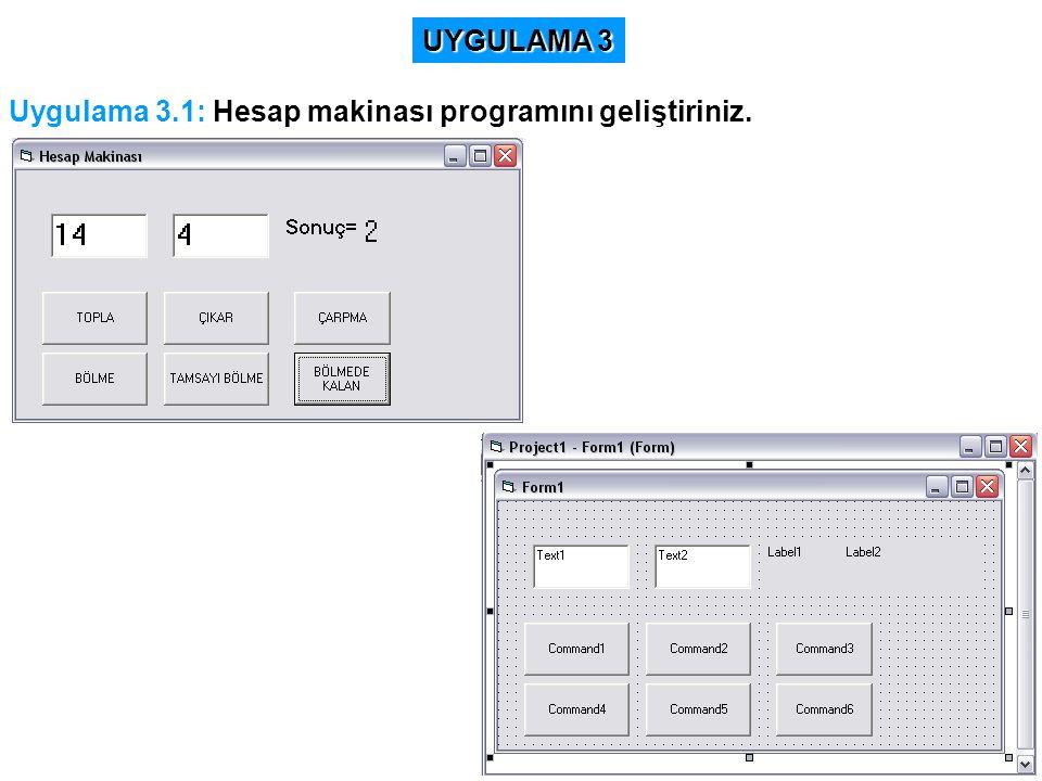 Uygulama 3.1: Hesap makinası programını geliştiriniz. UYGULAMA 3