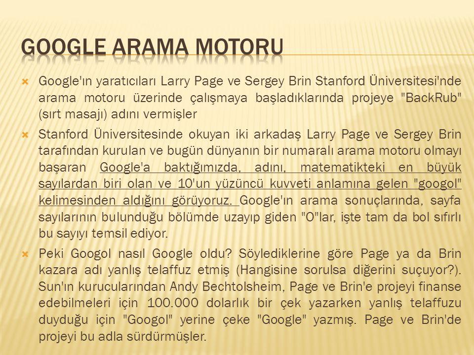  Google'ın yaratıcıları Larry Page ve Sergey Brin Stanford Üniversitesi'nde arama motoru üzerinde çalışmaya başladıklarında projeye