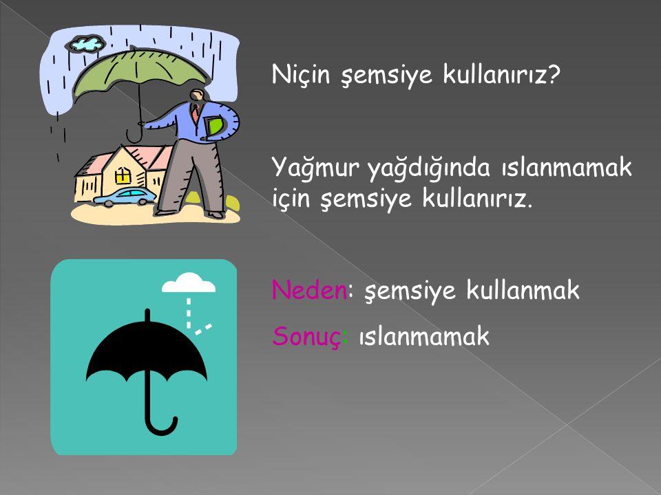 Niçin şemsiye kullanırız. Yağmur yağdığında ıslanmamak için şemsiye kullanırız.