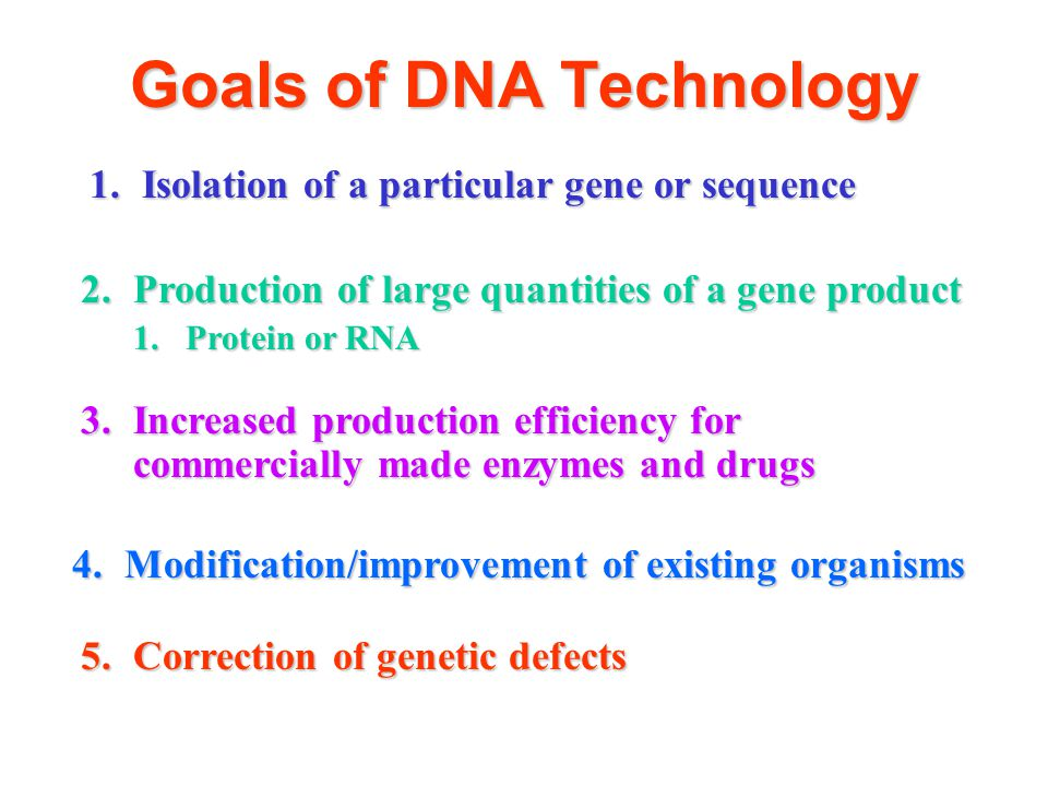 Goals of DNA Technology 1.Isolation of a particular gene or sequence 2.Production of large quantities of a gene product 1.Protein or RNA 3.Increased p