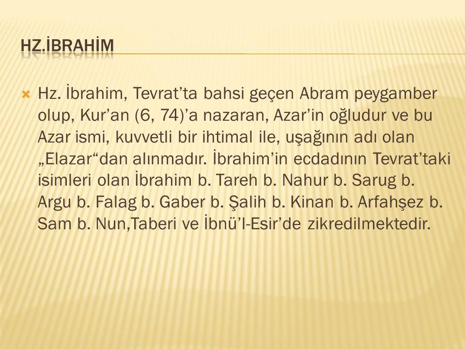  Hz. İbrahim, Tevrat'ta bahsi geçen Abram peygamber olup, Kur'an (6, 74)'a nazaran, Azar'in oğludur ve bu Azar ismi, kuvvetli bir ihtimal ile, uşağın