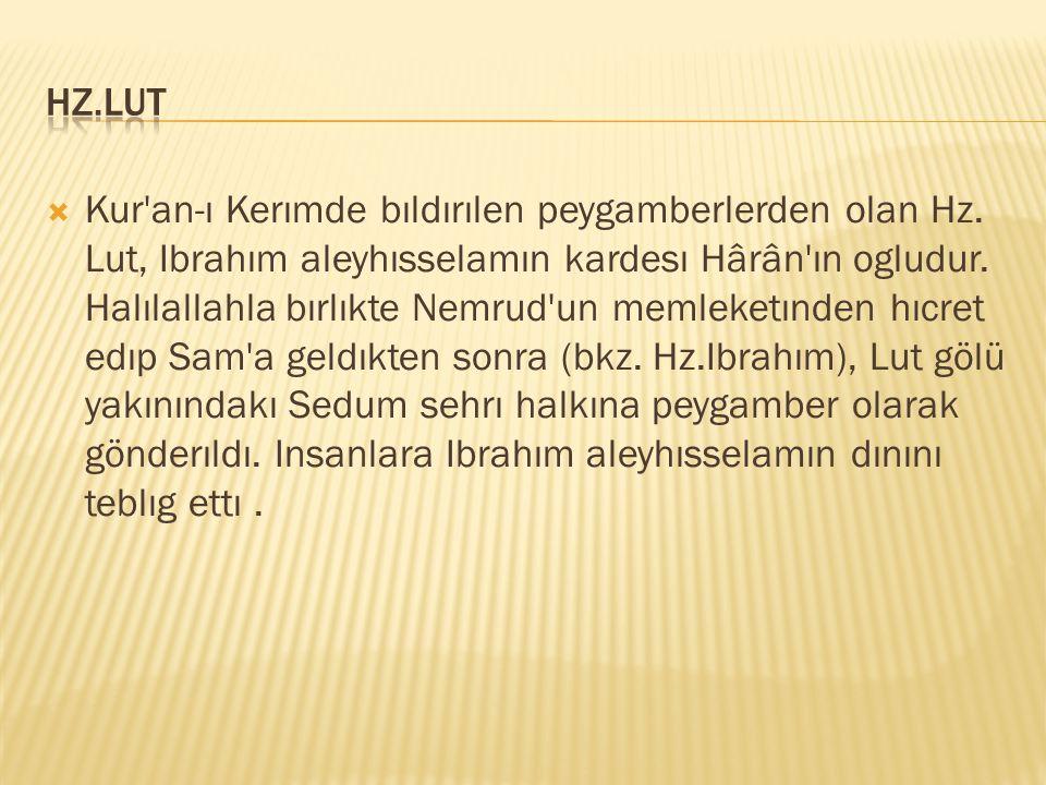  Kur'an-ı Kerımde bıldırılen peygamberlerden olan Hz. Lut, Ibrahım aleyhısselamın kardesı Hârân'ın ogludur. Halılallahla bırlıkte Nemrud'un memleketı