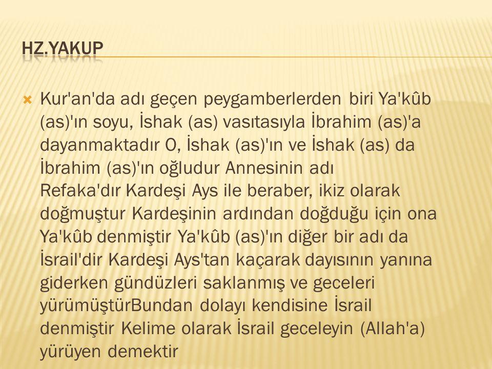  Kur'an'da adı geçen peygamberlerden biri Ya'kûb (as)'ın soyu, İshak (as) vasıtasıyla İbrahim (as)'a dayanmaktadır O, İshak (as)'ın ve İshak (as) da