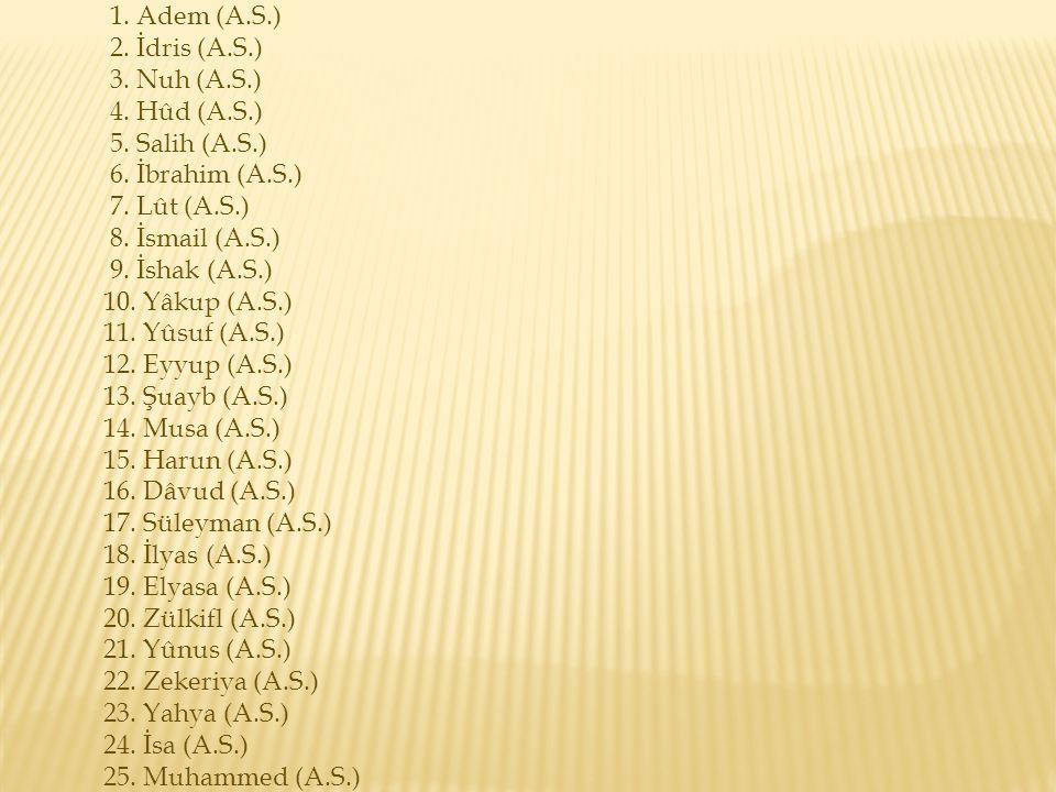 1. Adem (A.S.) 2. İdris (A.S.) 3. Nuh (A.S.) 4. Hûd (A.S.) 5. Salih (A.S.) 6. İbrahim (A.S.) 7. Lût (A.S.) 8. İsmail (A.S.) 9. İshak (A.S.) 10. Yâkup