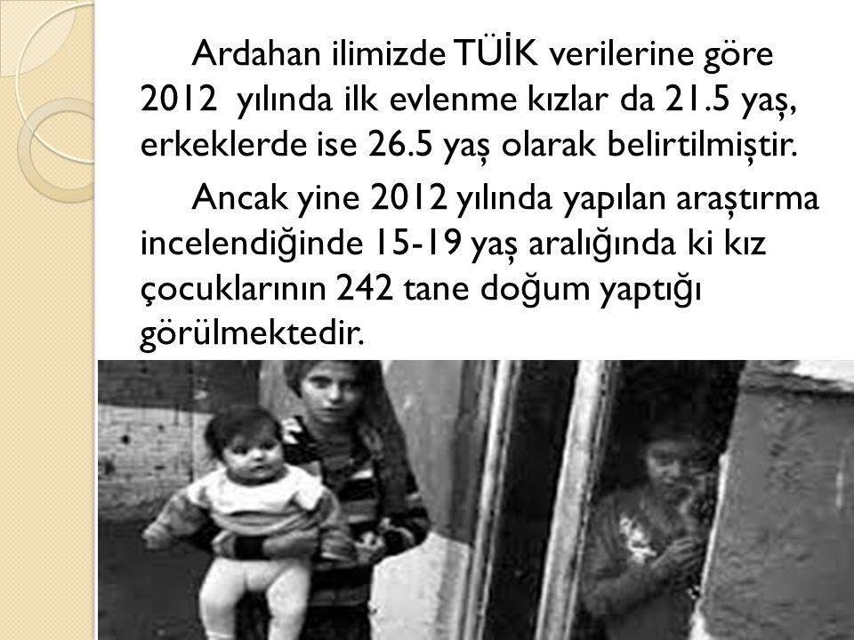 Ardahan ilimizde TÜ İ K verilerine göre 2012 yılında ilk evlenme kızlar da 21.5 yaş, erkeklerde ise 26.5 yaş olarak belirtilmiştir.