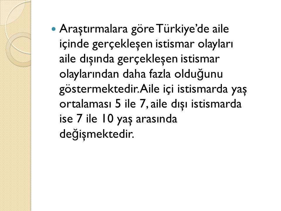 Araştırmalara göre Türkiye'de aile içinde gerçekleşen istismar olayları aile dışında gerçekleşen istismar olaylarından daha fazla oldu ğ unu göstermektedir.