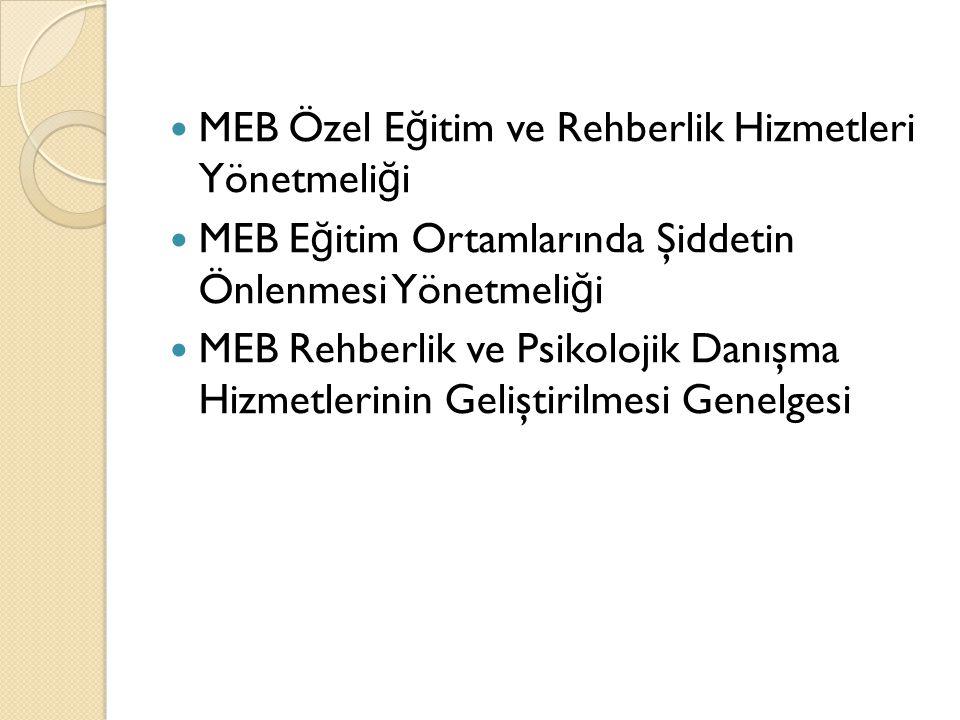 MEB Özel E ğ itim ve Rehberlik Hizmetleri Yönetmeli ğ i MEB E ğ itim Ortamlarında Şiddetin Önlenmesi Yönetmeli ğ i MEB Rehberlik ve Psikolojik Danışma Hizmetlerinin Geliştirilmesi Genelgesi