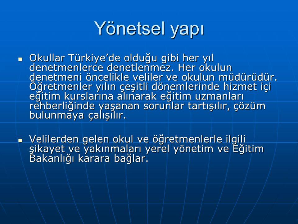 Yönetsel yapı Okullar Türkiye'de olduğu gibi her yıl denetmenlerce denetlenmez. Her okulun denetmeni öncelikle veliler ve okulun müdürüdür. Öğretmenle
