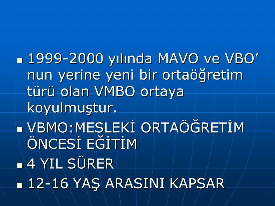1999-2000 yılında MAVO ve VBO' nun yerine yeni bir ortaöğretim türü olan VMBO ortaya koyulmuştur. 1999-2000 yılında MAVO ve VBO' nun yerine yeni bir o