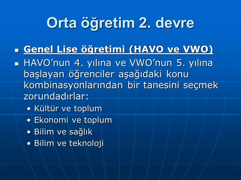 Orta öğretim 2. devre Genel Lise öğretimi (HAVO ve VWO) Genel Lise öğretimi (HAVO ve VWO) HAVO'nun 4. yılına ve VWO'nun 5. yılına başlayan öğrenciler