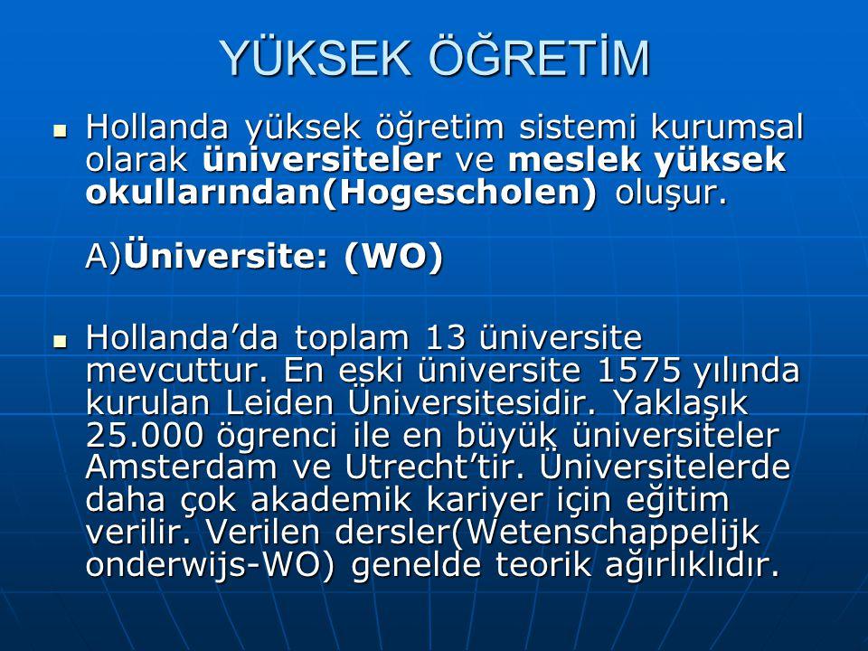 YÜKSEK ÖĞRETİM Hollanda yüksek öğretim sistemi kurumsal olarak üniversiteler ve meslek yüksek okullarından(Hogescholen) oluşur. A)Üniversite: (WO) Hol