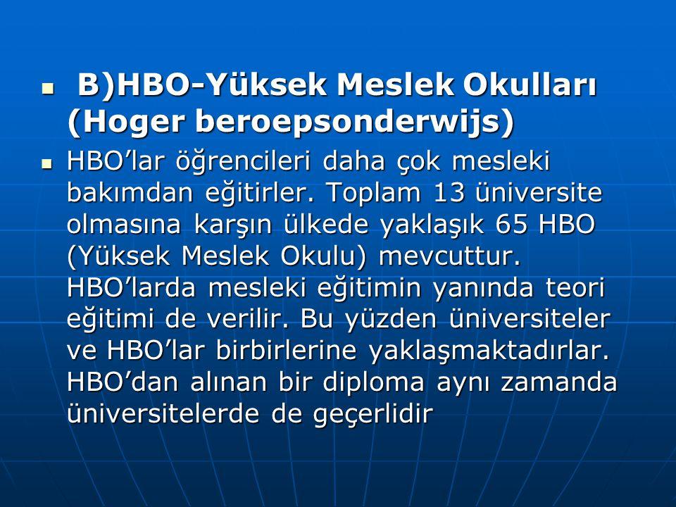 B)HBO-Yüksek Meslek Okulları (Hoger beroepsonderwijs) B)HBO-Yüksek Meslek Okulları (Hoger beroepsonderwijs) HBO'lar öğrencileri daha çok mesleki bakım
