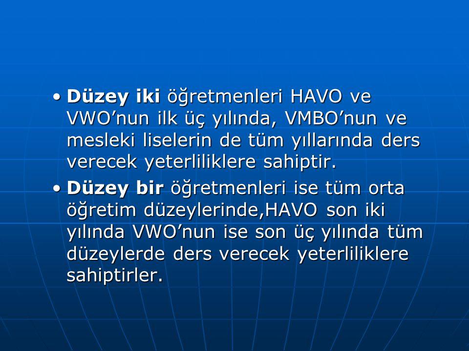 Düzey iki öğretmenleri HAVO ve VWO'nun ilk üç yılında, VMBO'nun ve mesleki liselerin de tüm yıllarında ders verecek yeterliliklere sahiptir.Düzey iki