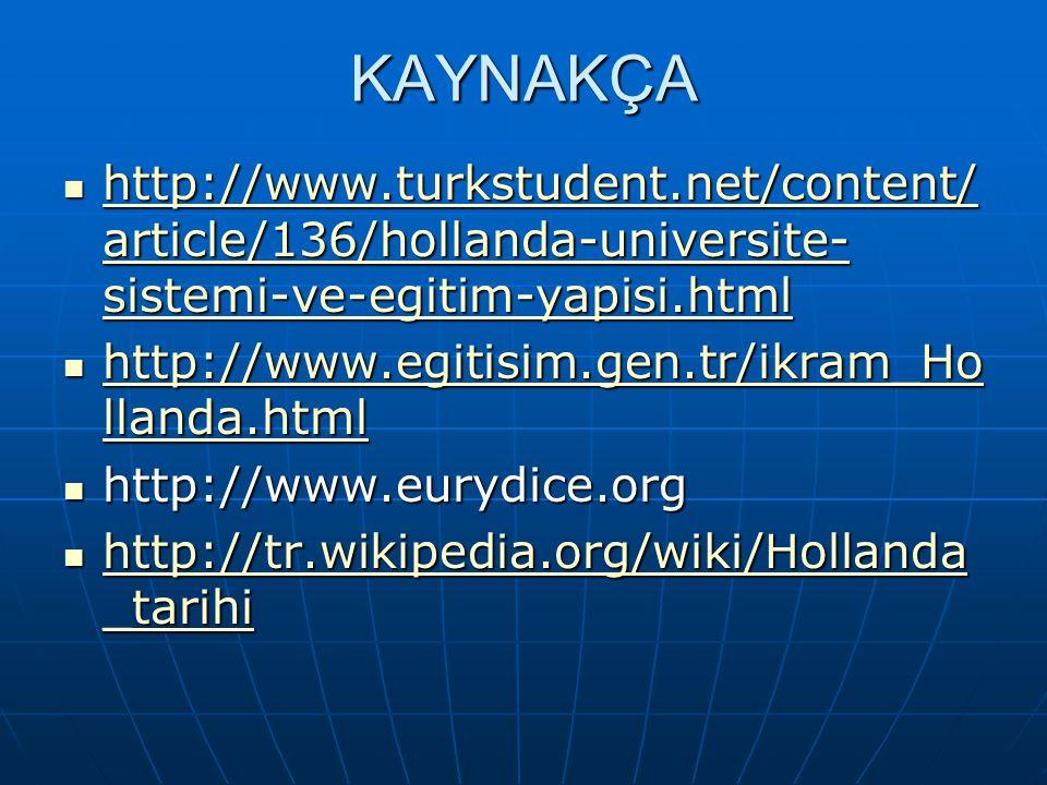 KAYNAKÇA http://www.turkstudent.net/content/ article/136/hollanda-universite- sistemi-ve-egitim-yapisi.html http://www.turkstudent.net/content/ articl