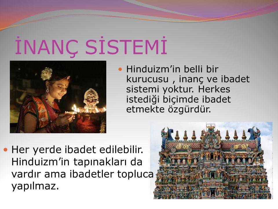 İNANÇ SİSTEMİ Hinduizm'in belli bir kurucusu, inanç ve ibadet sistemi yoktur. Herkes istediği biçimde ibadet etmekte özgürdür. Her yerde ibadet edileb