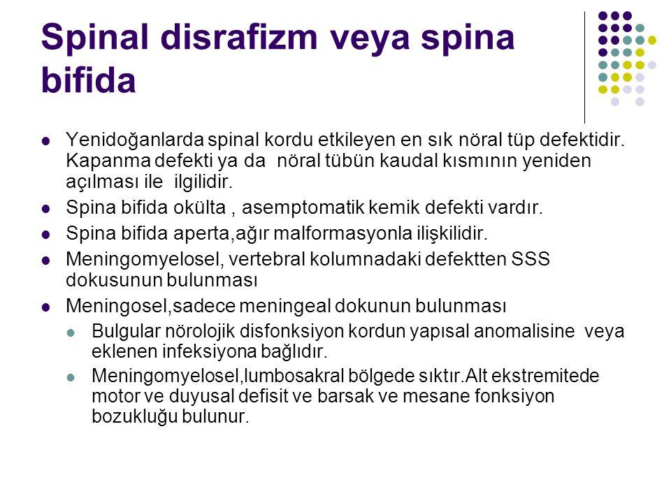 Spinal disrafizm veya spina bifida Yenidoğanlarda spinal kordu etkileyen en sık nöral tüp defektidir. Kapanma defekti ya da nöral tübün kaudal kısmını