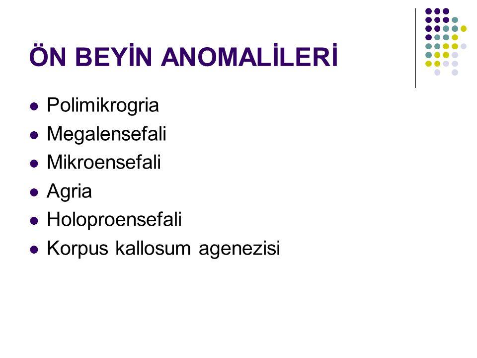 ÖN BEYİN ANOMALİLERİ Polimikrogria Megalensefali Mikroensefali Agria Holoproensefali Korpus kallosum agenezisi