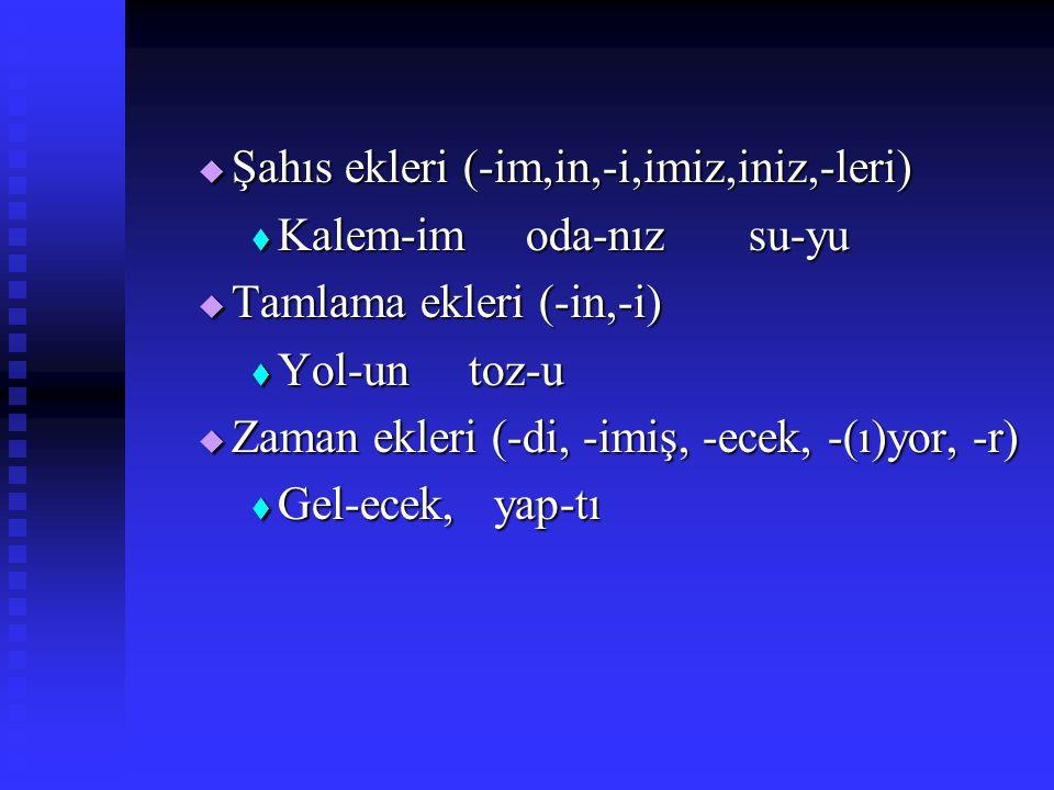 2.Çekim Ekleri Eklendikleri sözcüklerin anlamını DEĞİŞTİRMEYEN eklere denir. Eklendikleri sözcüklerin anlamını DEĞİŞTİRMEYEN eklere denir. Başlıca çek