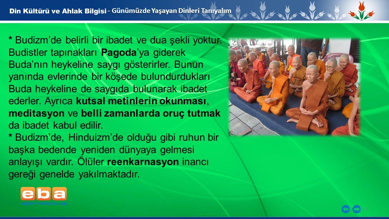 6 - Günümüzde Yaşayan Dinleri Tanıyalım * Budizm'de belirli bir ibadet ve dua şekli yoktur.