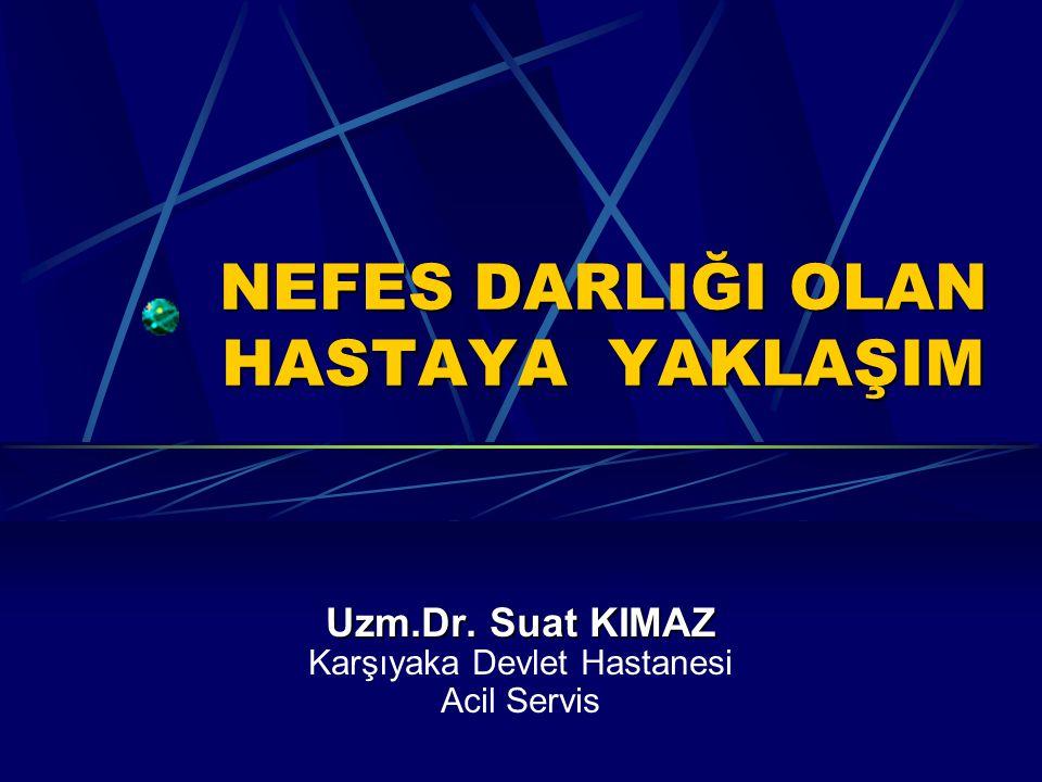 NEFES DARLIĞI OLAN HASTAYA YAKLAŞIM Uzm.Dr. Suat KIMAZ Karşıyaka Devlet Hastanesi Acil Servis