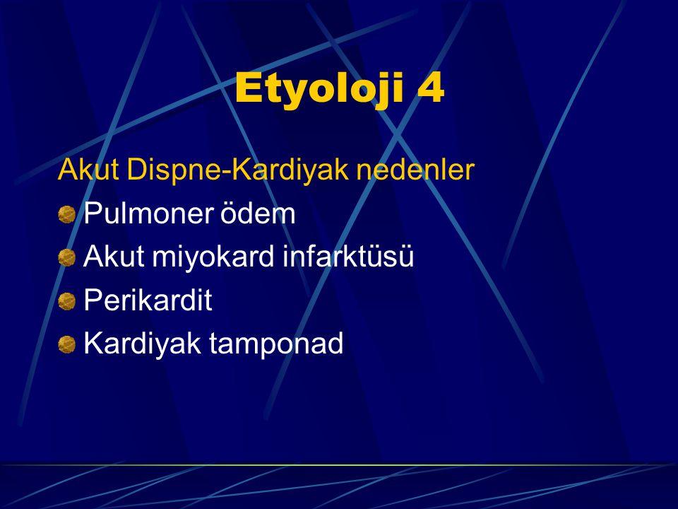 Etyoloji 3 Akut dispne -Pulmoner nedenler Pulmoner emboli (yağ, amnion,hava,) Astım Pnömoni Plevral efüzyon Hava yolu tıkanması Aspirasyon Spontan pnö